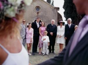Newlywed couple leaving wedding